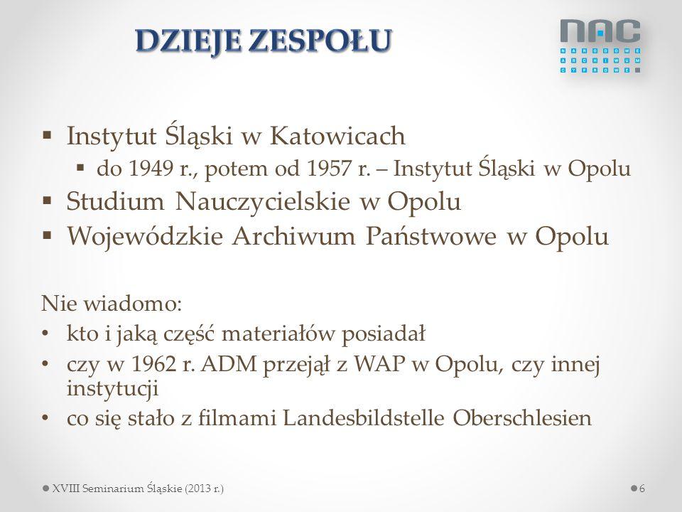 Dzieje zespołu Instytut Śląski w Katowicach