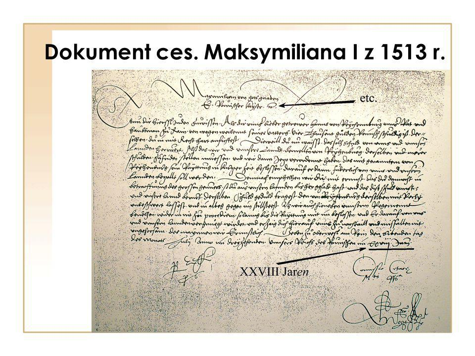 Dokument ces. Maksymiliana I z 1513 r.