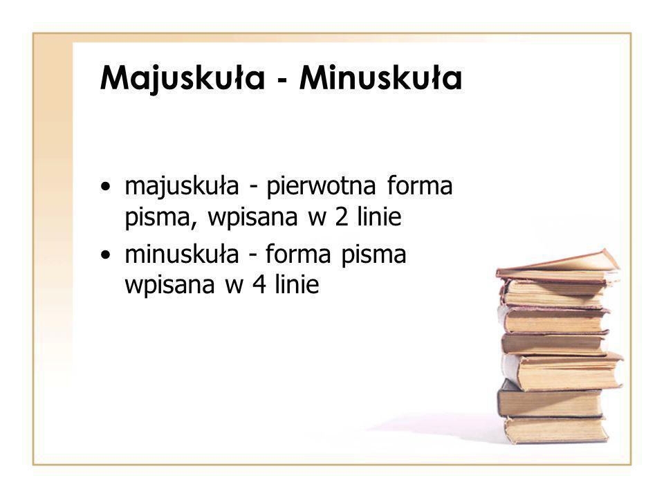 Majuskuła - Minuskuła majuskuła - pierwotna forma pisma, wpisana w 2 linie.