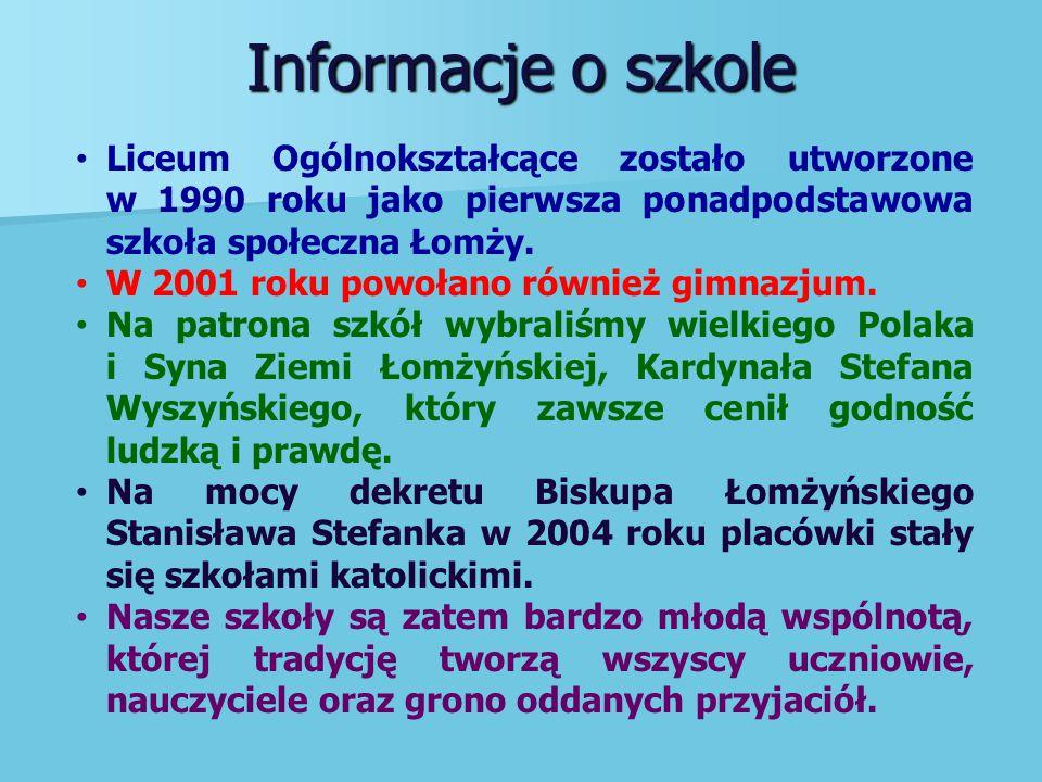 Informacje o szkole Liceum Ogólnokształcące zostało utworzone w 1990 roku jako pierwsza ponadpodstawowa szkoła społeczna Łomży.