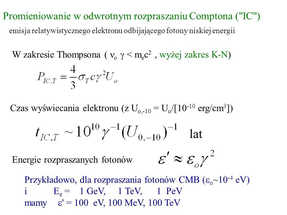 lat Promieniowanie w odwrotnym rozpraszaniu Comptona ( IC )