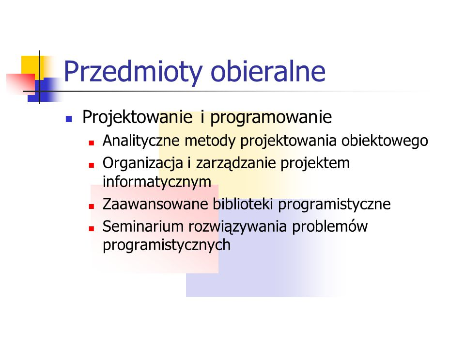 Przedmioty obieralne Projektowanie i programowanie