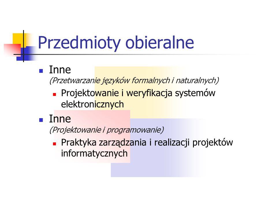 Przedmioty obieralne Inne (Przetwarzanie języków formalnych i naturalnych) Projektowanie i weryfikacja systemów elektronicznych.