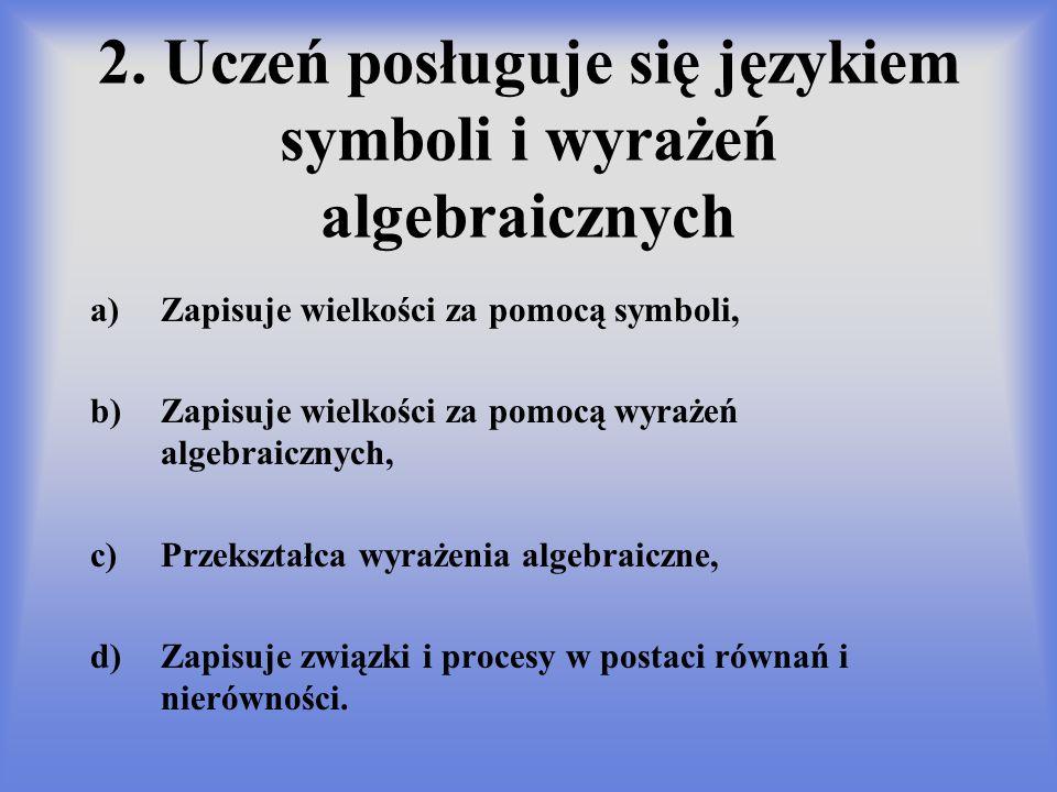2. Uczeń posługuje się językiem symboli i wyrażeń algebraicznych