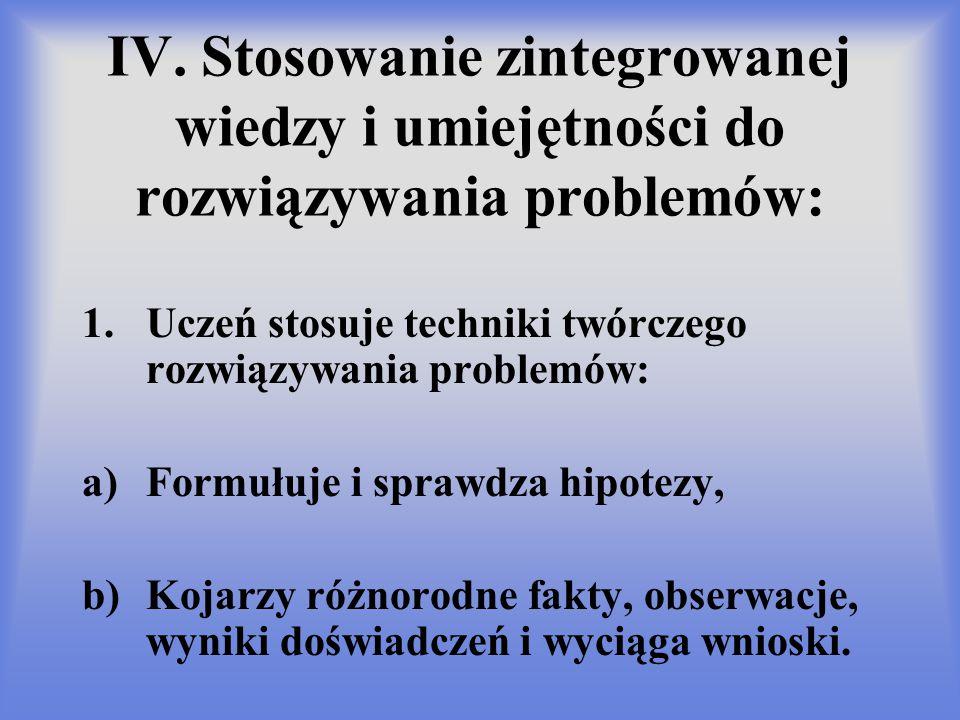 IV. Stosowanie zintegrowanej wiedzy i umiejętności do rozwiązywania problemów: