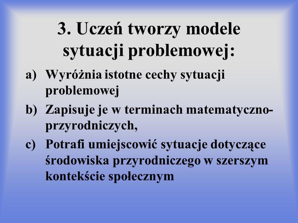 3. Uczeń tworzy modele sytuacji problemowej: