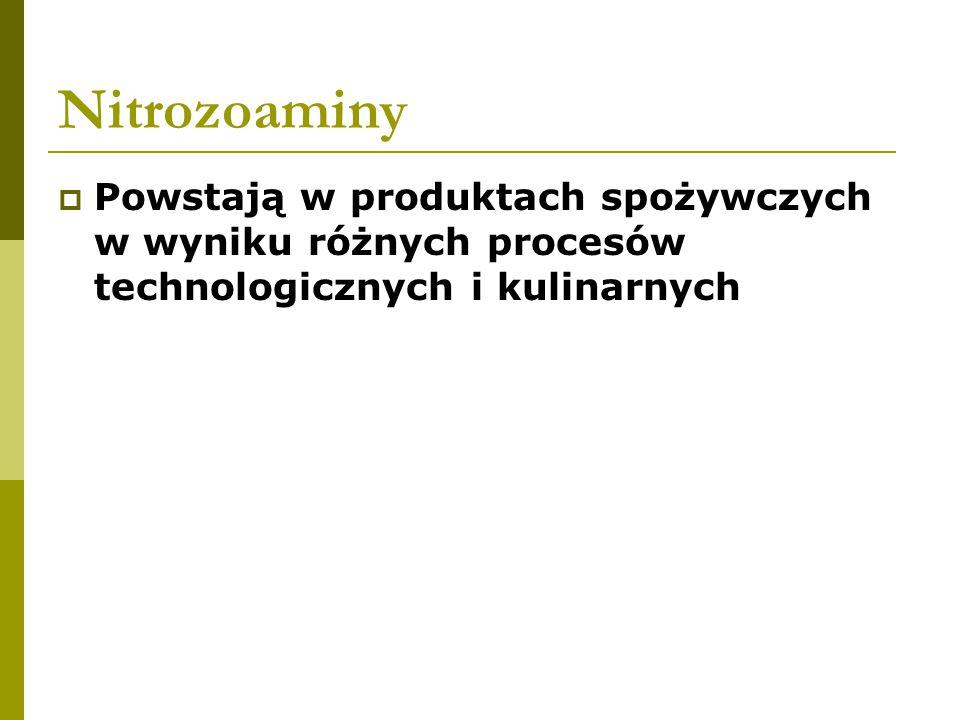 Nitrozoaminy Powstają w produktach spożywczych w wyniku różnych procesów technologicznych i kulinarnych.