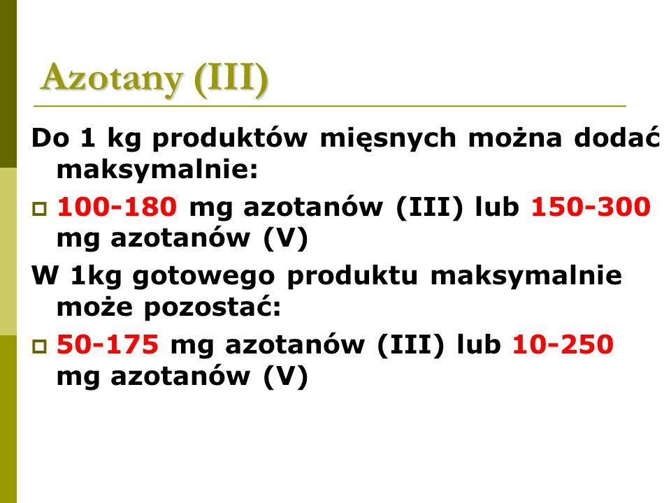 Azotany (III) Do 1 kg produktów mięsnych można dodać maksymalnie: