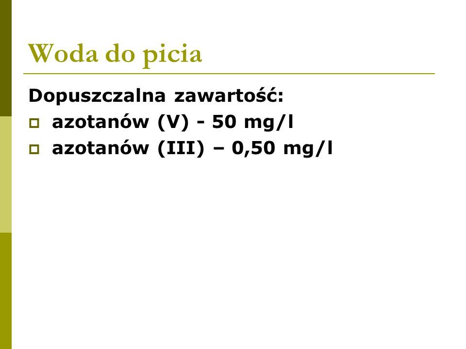 Woda do picia Dopuszczalna zawartość: azotanów (V) - 50 mg/l