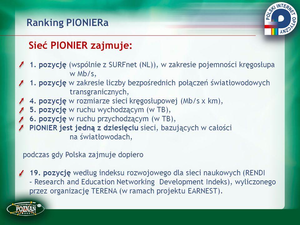 Ranking PIONIERa Sieć PIONIER zajmuje: