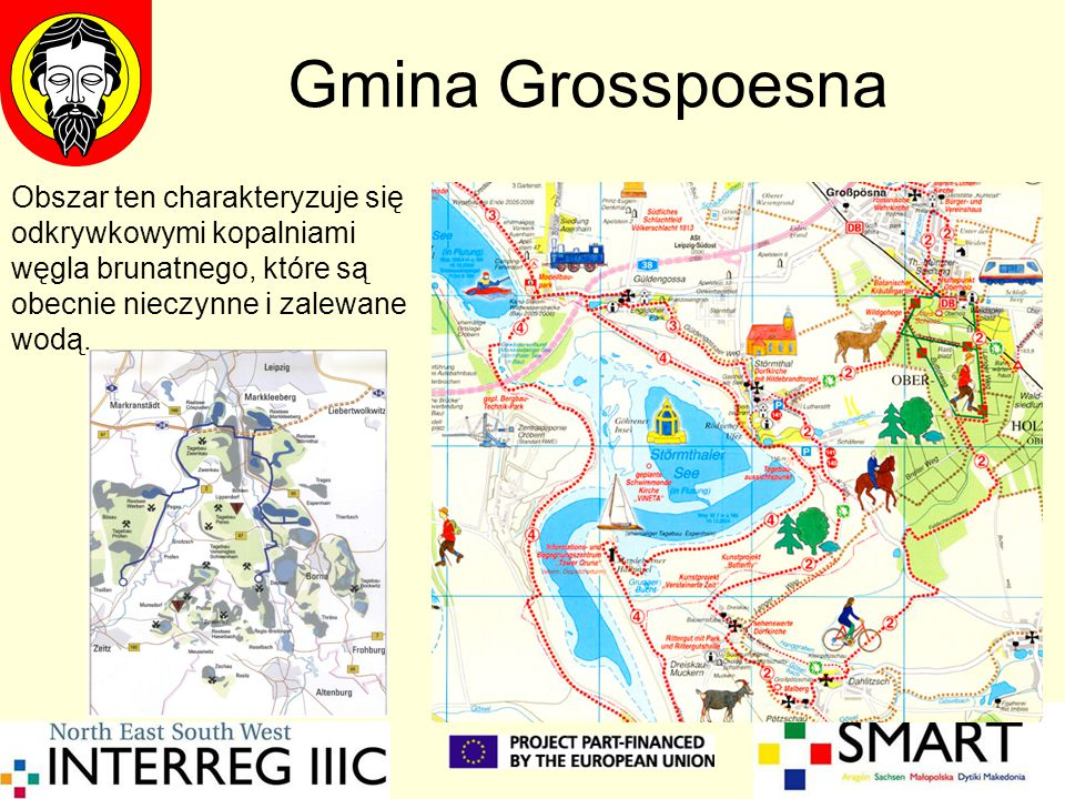 Gmina Grosspoesna Obszar ten charakteryzuje się odkrywkowymi kopalniami węgla brunatnego, które są obecnie nieczynne i zalewane wodą.