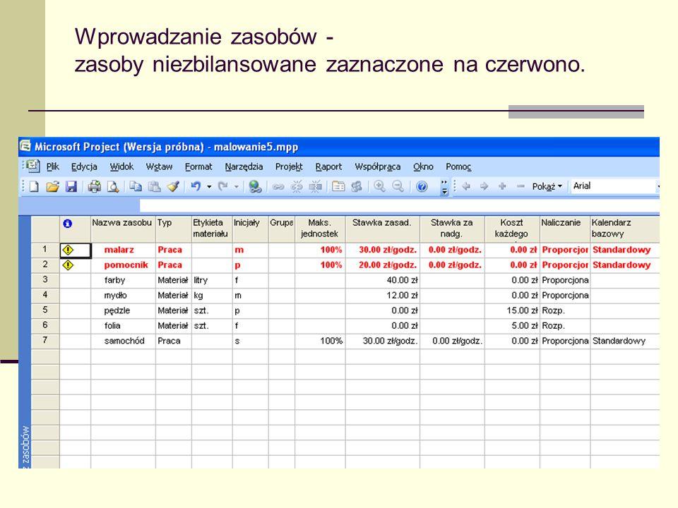 Wprowadzanie zasobów - zasoby niezbilansowane zaznaczone na czerwono.