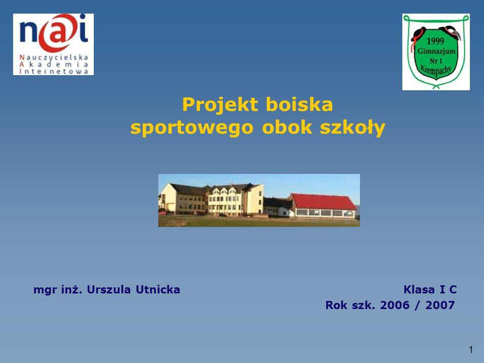 Projekt boiska sportowego obok szkoły