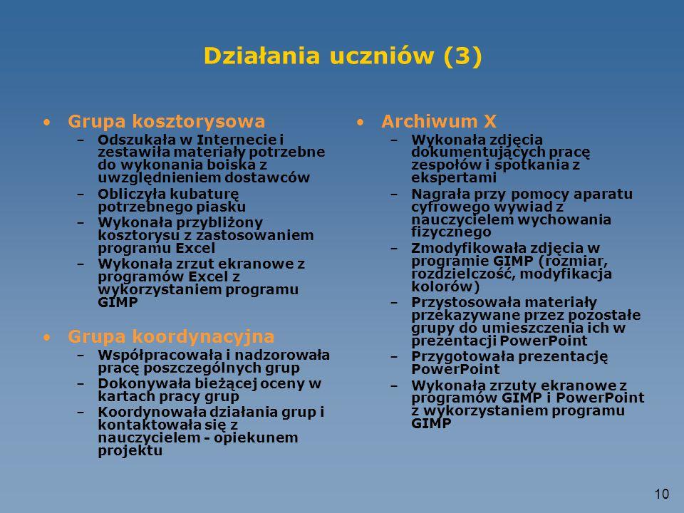 Działania uczniów (3) Grupa kosztorysowa Grupa koordynacyjna