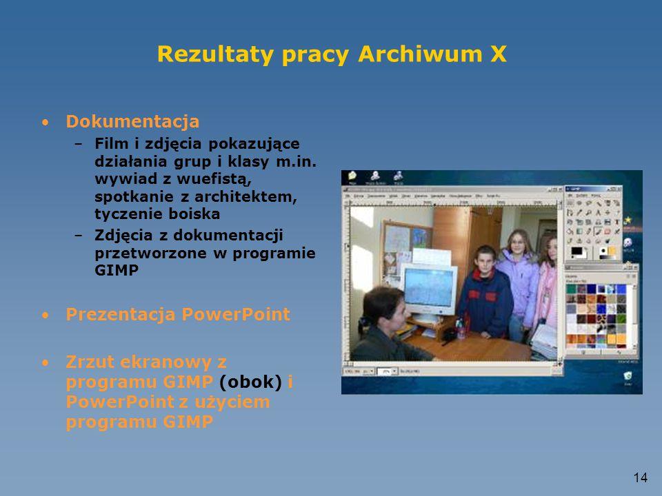 Rezultaty pracy Archiwum X
