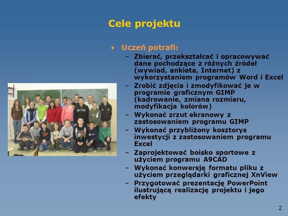 Cele projektu Uczeń potrafi: