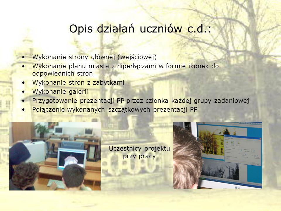 Opis działań uczniów c.d.: