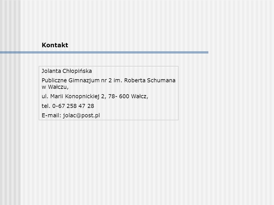Kontakt Jolanta Chłopińska