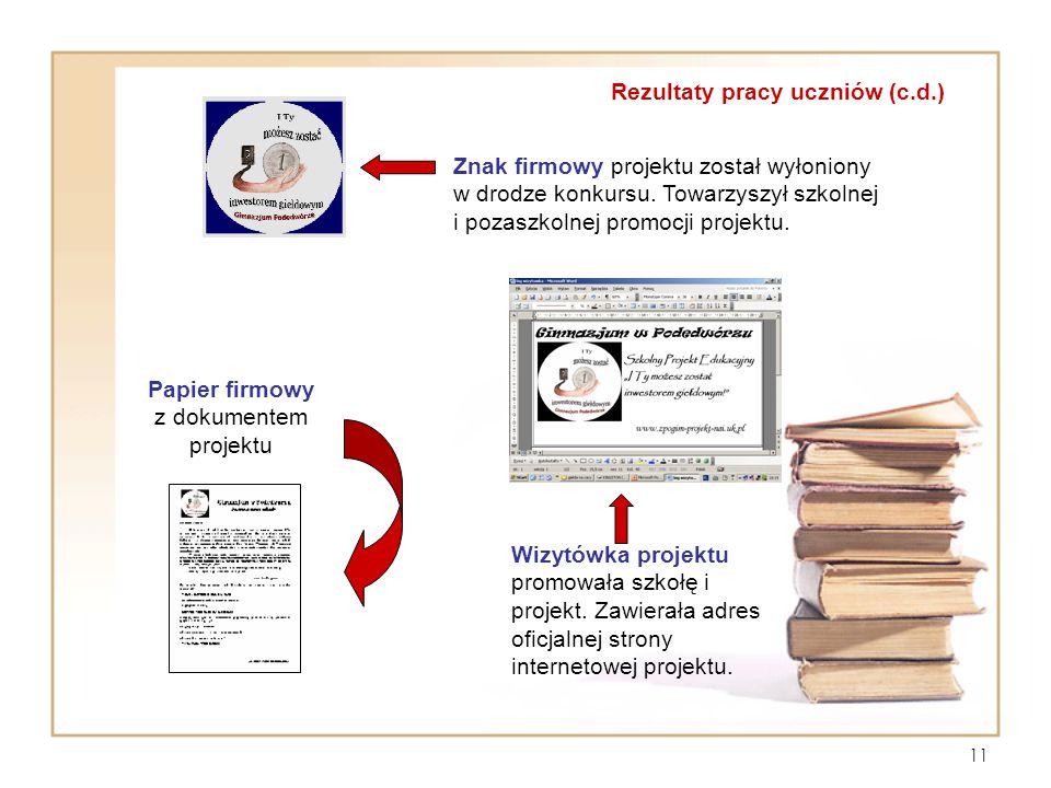 Papier firmowy z dokumentem projektu