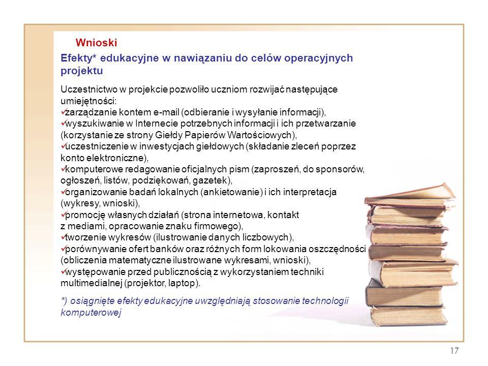 Efekty* edukacyjne w nawiązaniu do celów operacyjnych projektu