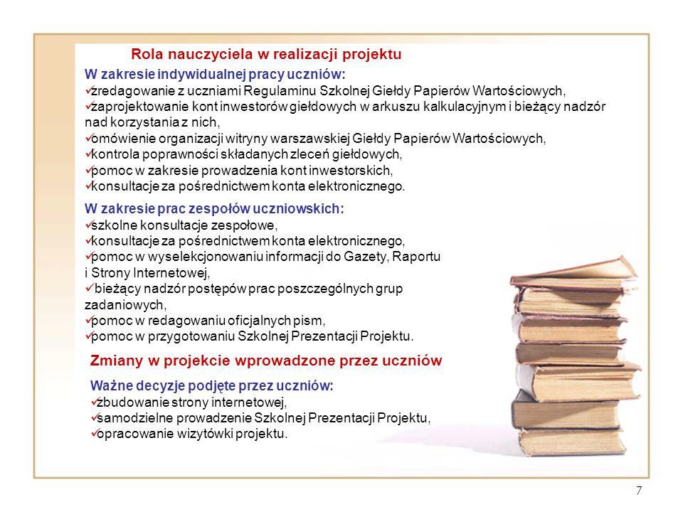 Rola nauczyciela w realizacji projektu