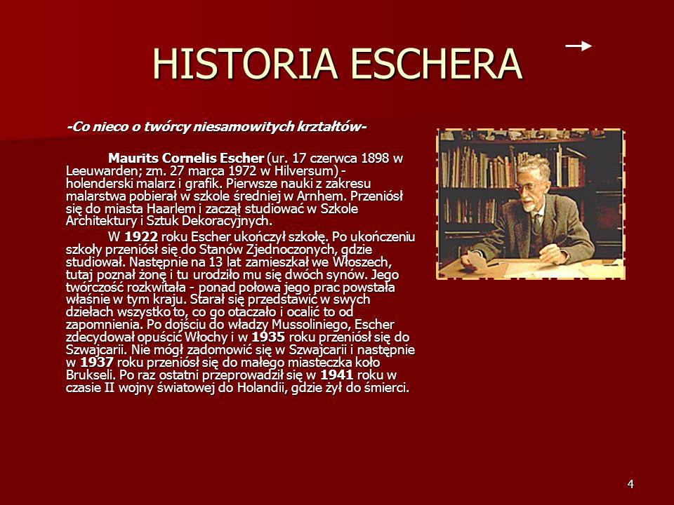 HISTORIA ESCHERA -Co nieco o twórcy niesamowitych krztałtów-
