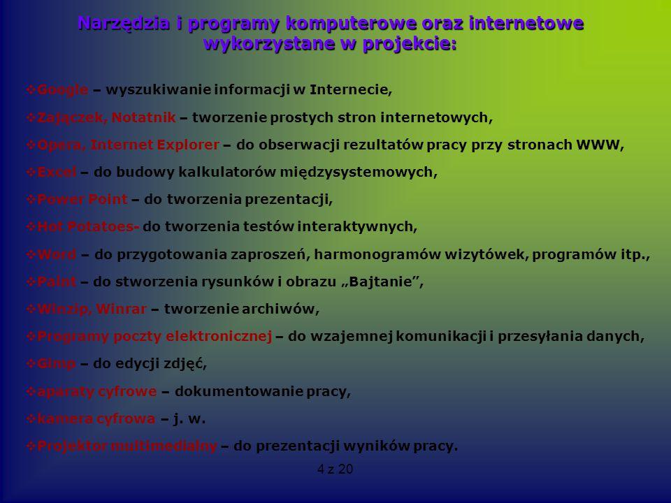 Narzędzia i programy komputerowe oraz internetowe wykorzystane w projekcie: