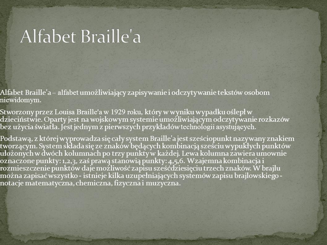 Alfabet Braille a Alfabet Braille a – alfabet umożliwiający zapisywanie i odczytywanie tekstów osobom niewidomym.