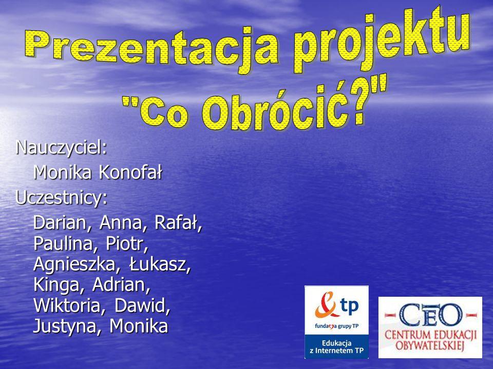 Prezentacja projektu Co Obrócić Nauczyciel: Monika Konofał