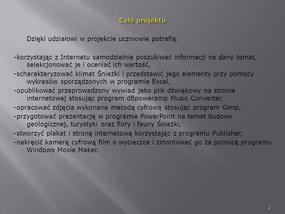 Cele projektu Dzięki udziałowi w projekcie uczniowie potrafią: