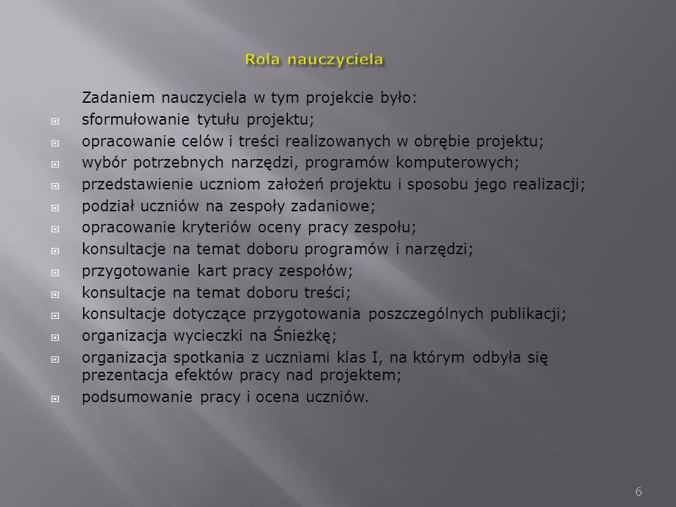 Rola nauczyciela Zadaniem nauczyciela w tym projekcie było: sformułowanie tytułu projektu;