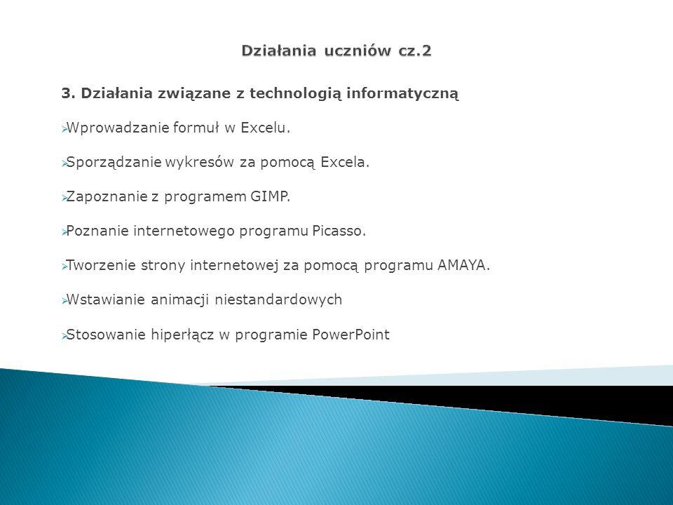Działania uczniów cz.2 3. Działania związane z technologią informatyczną. Wprowadzanie formuł w Excelu.