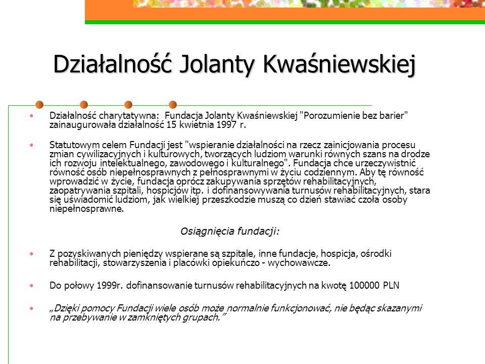 Działalność Jolanty Kwaśniewskiej