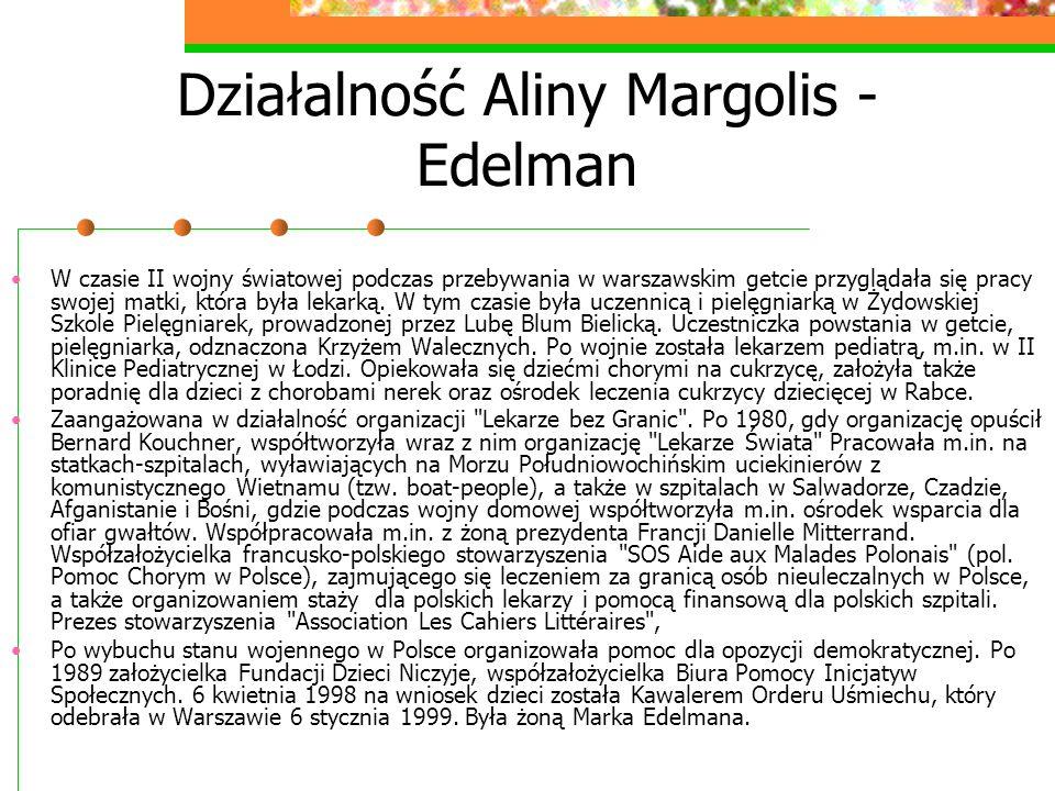 Działalność Aliny Margolis - Edelman