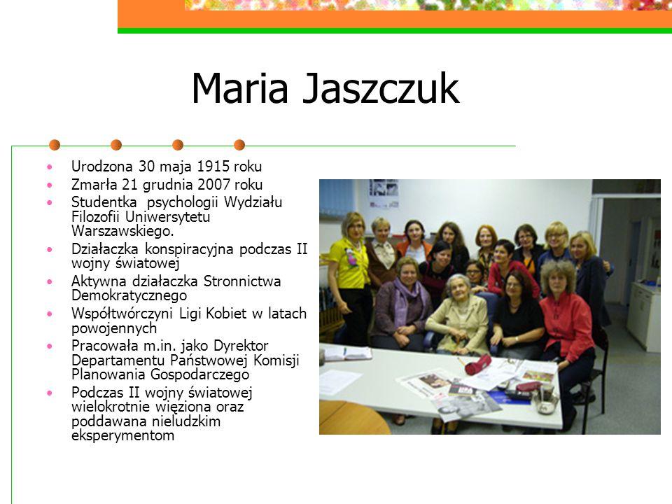 Maria Jaszczuk Urodzona 30 maja 1915 roku Zmarła 21 grudnia 2007 roku