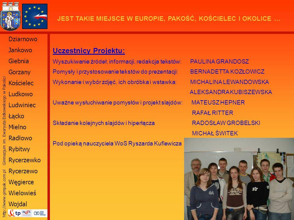 Uczestnicy Projektu: Wyszukiwanie źródeł, informacji, redakcja tekstów: PAULINA GRANDOSZ.