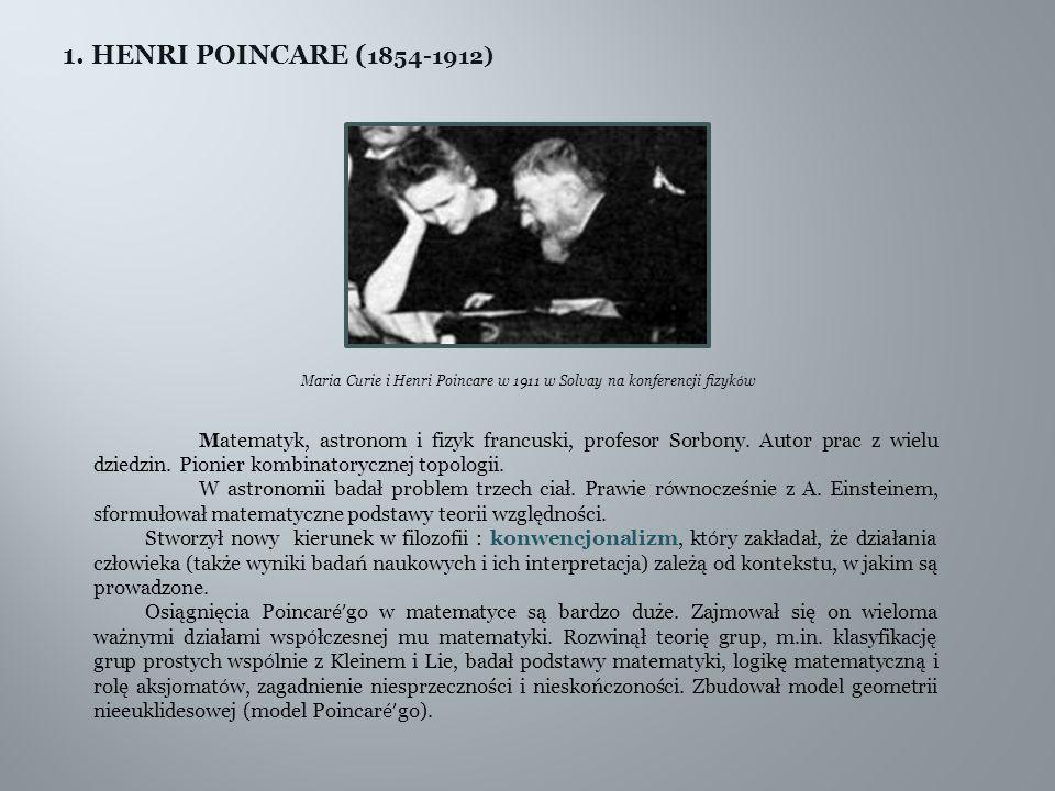 Maria Curie i Henri Poincare w 1911 w Solvay na konferencji fizyków