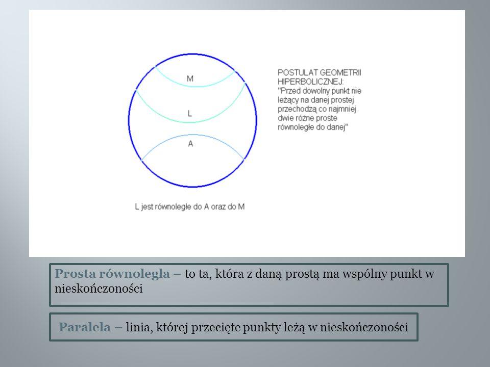 Prosta równoległa – to ta, która z daną prostą ma wspólny punkt w nieskończoności
