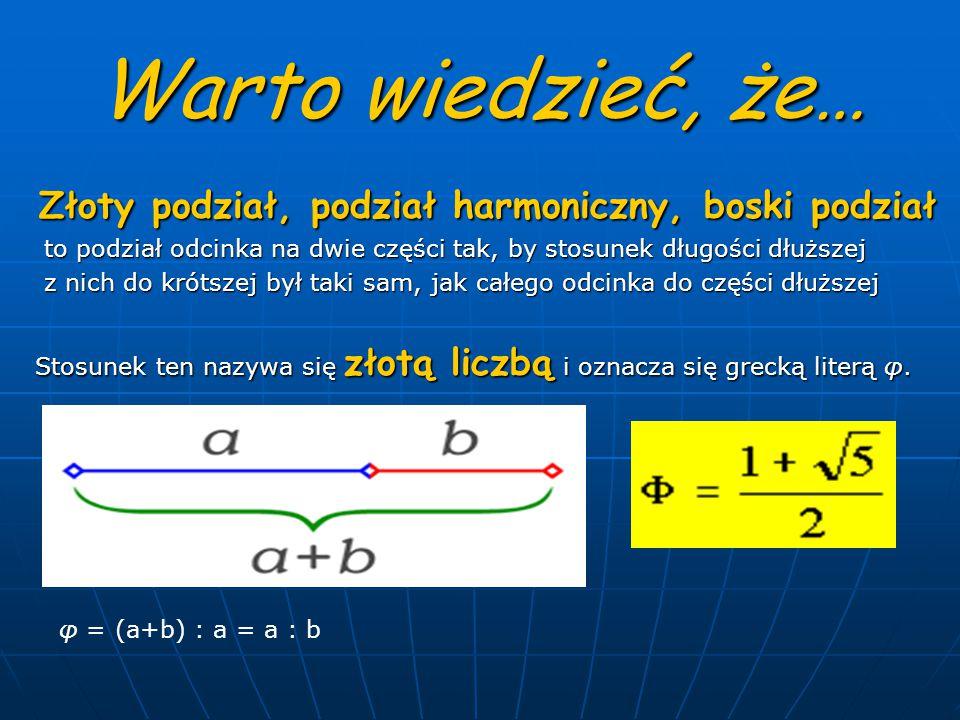 Warto wiedzieć, że… Złoty podział, podział harmoniczny, boski podział