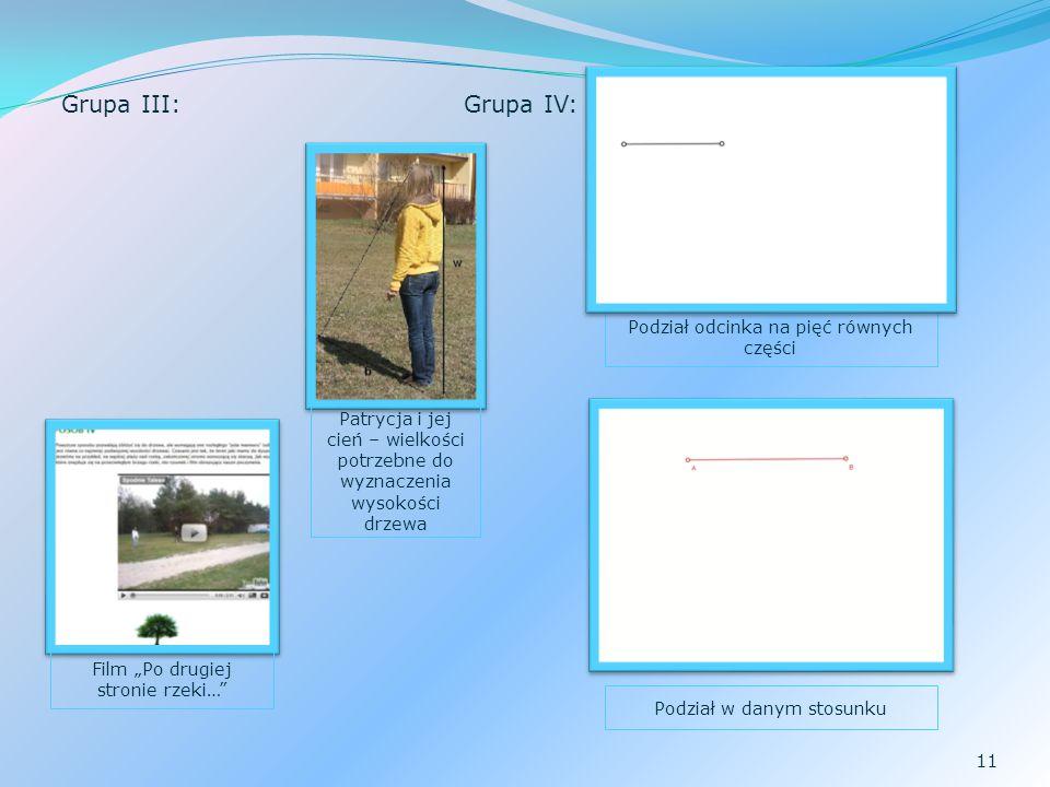 Grupa III: Grupa IV: Podział odcinka na pięć równych części