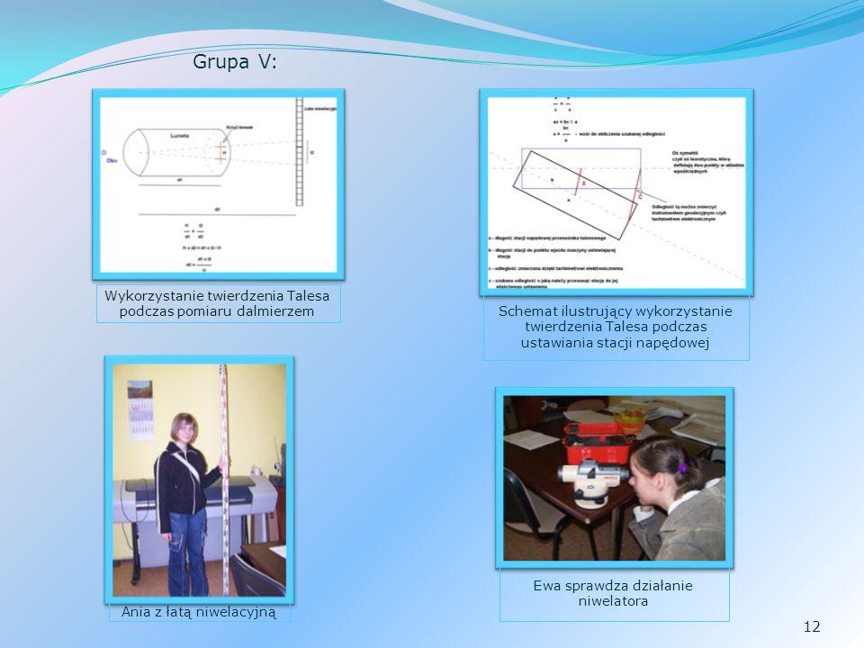 Grupa V: Wykorzystanie twierdzenia Talesa podczas pomiaru dalmierzem