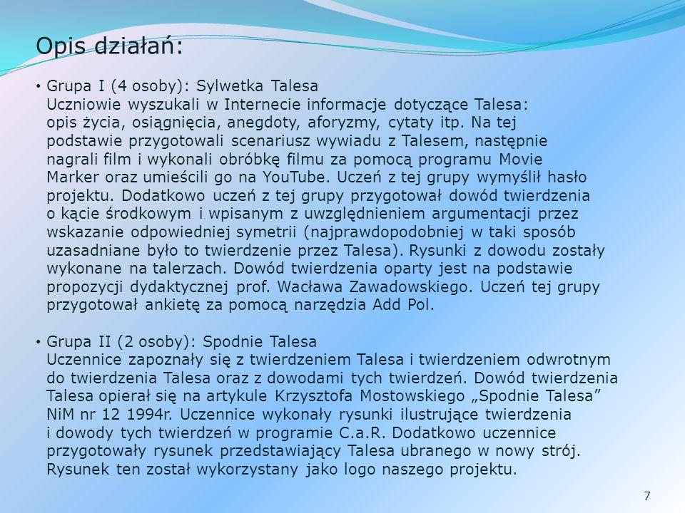 Opis działań: Grupa I (4 osoby): Sylwetka Talesa