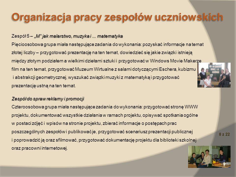 Organizacja pracy zespołów uczniowskich
