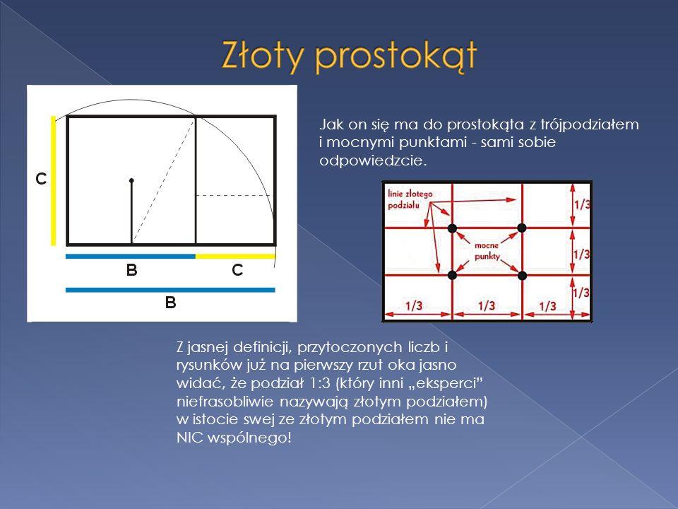 Złoty prostokąt Jak on się ma do prostokąta z trójpodziałem i mocnymi punktami - sami sobie odpowiedzcie.