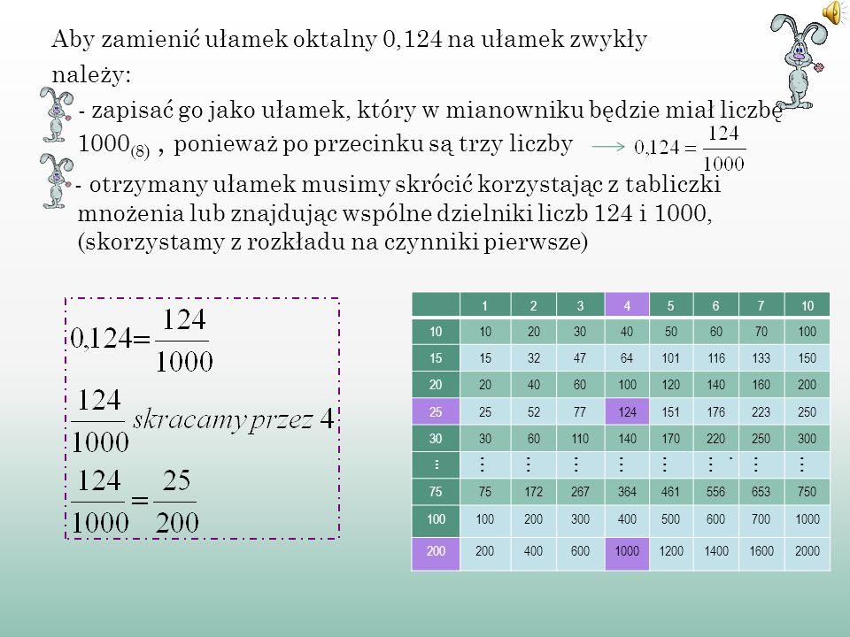 Aby zamienić ułamek oktalny 0,124 na ułamek zwykły