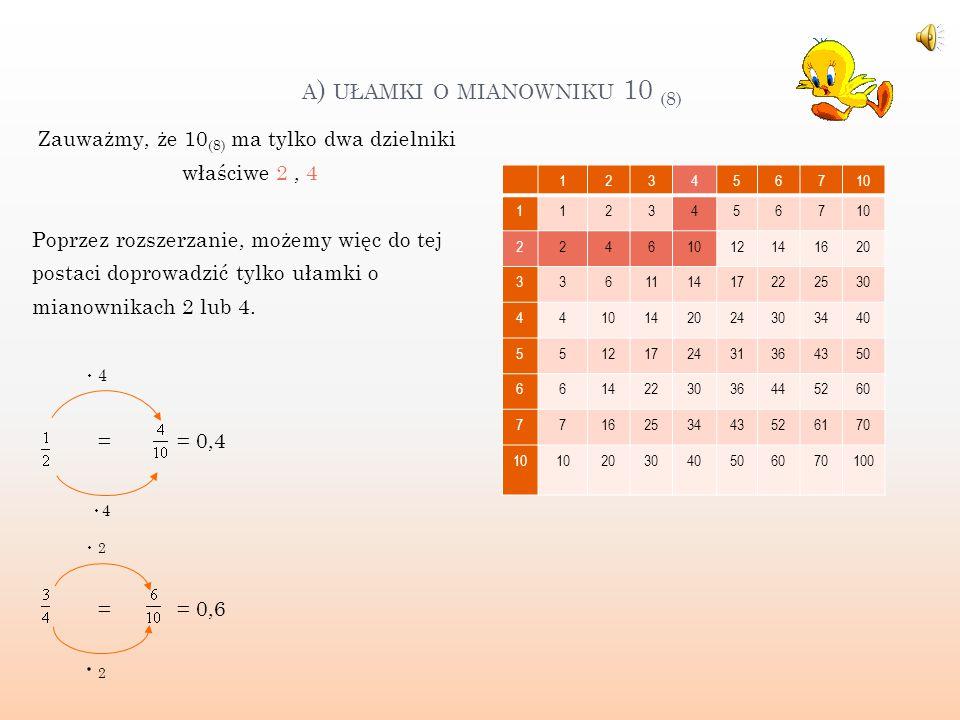 a) ułamki o mianowniku 10 (8)