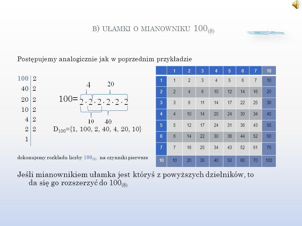 b) ułamki o mianowniku 100(8)