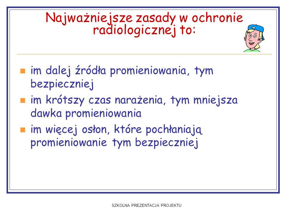 Najważniejsze zasady w ochronie radiologicznej to: