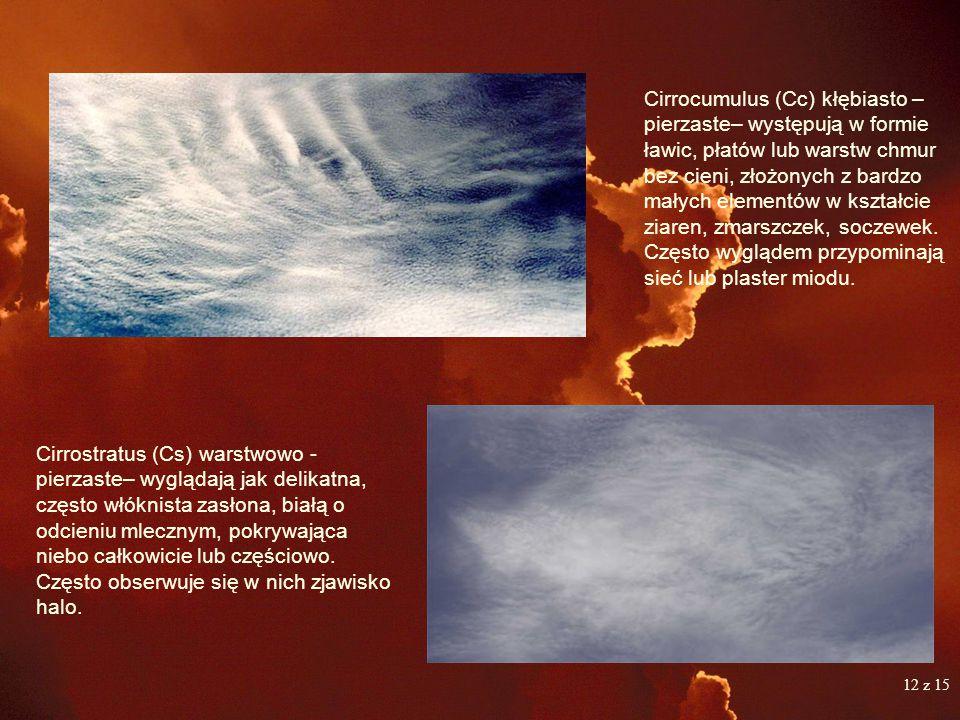 Cirrocumulus (Cc) kłębiasto – pierzaste– występują w formie ławic, płatów lub warstw chmur bez cieni, złożonych z bardzo małych elementów w kształcie ziaren, zmarszczek, soczewek. Często wyglądem przypominają sieć lub plaster miodu.