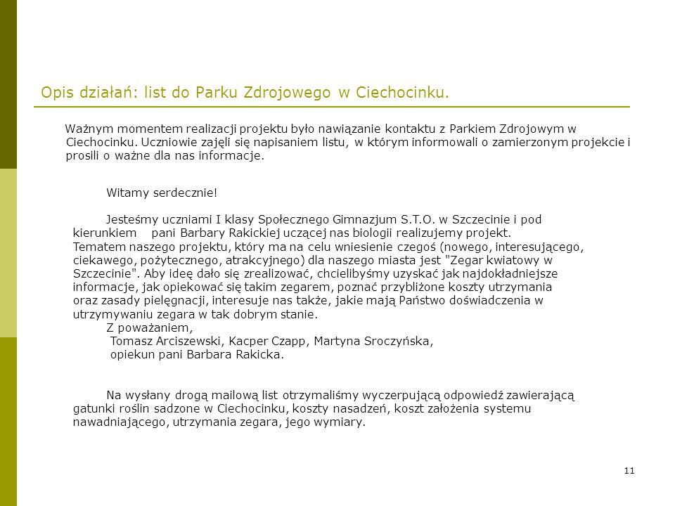 Opis działań: list do Parku Zdrojowego w Ciechocinku.